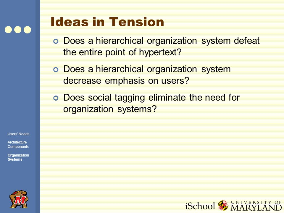iSchool Ideas in Tension Does a hierarchical organization system defeat the entire point of hypertext.