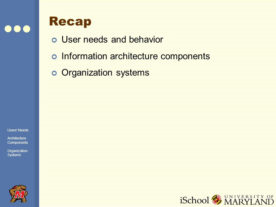 iSchool Recap User needs and behavior Information architecture components Organization systems Users Needs Architecture Components Organization Systems