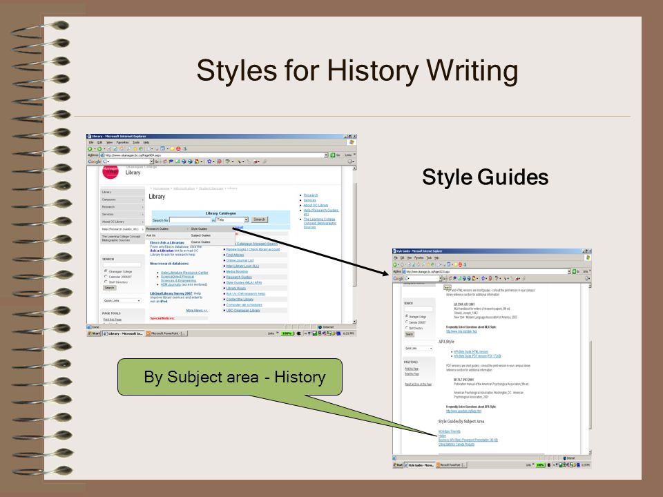 Styles for History Writing Style Guides By Subject area - History