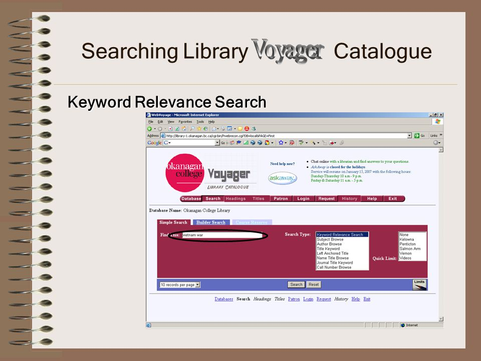 Searching Library Catalogue Keyword Relevance Search