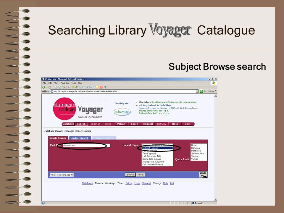 Subject Browse search Searching Library Catalogue