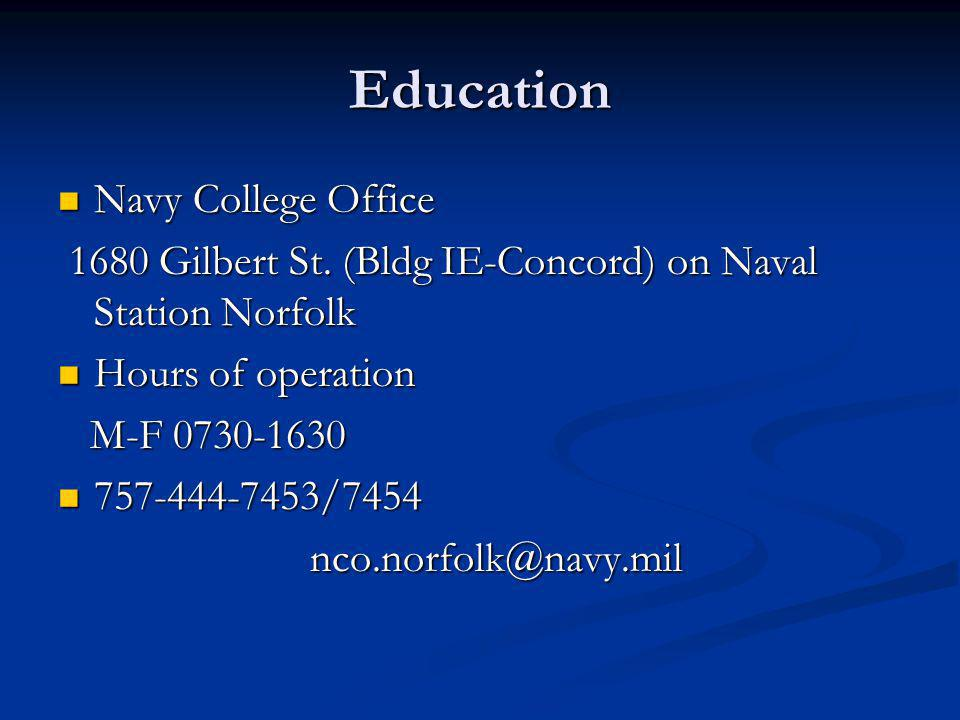 Education Navy College Office Navy College Office 1680 Gilbert St. (Bldg IE-Concord) on Naval Station Norfolk 1680 Gilbert St. (Bldg IE-Concord) on Na