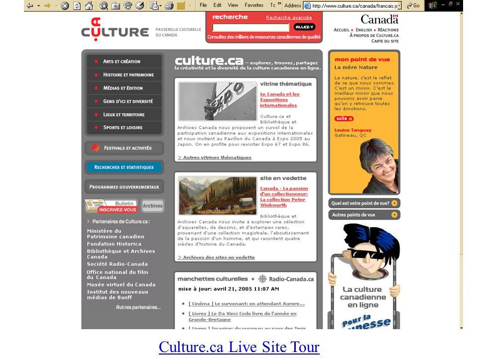 Culture.ca Live Site Tour
