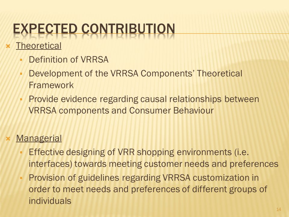 Theoretical Definition of VRRSA Development of the VRRSA Components Theoretical Framework Provide evidence regarding causal relationships between VRRSA components and Consumer Behaviour Managerial Effective designing of VRR shopping environments (i.e.