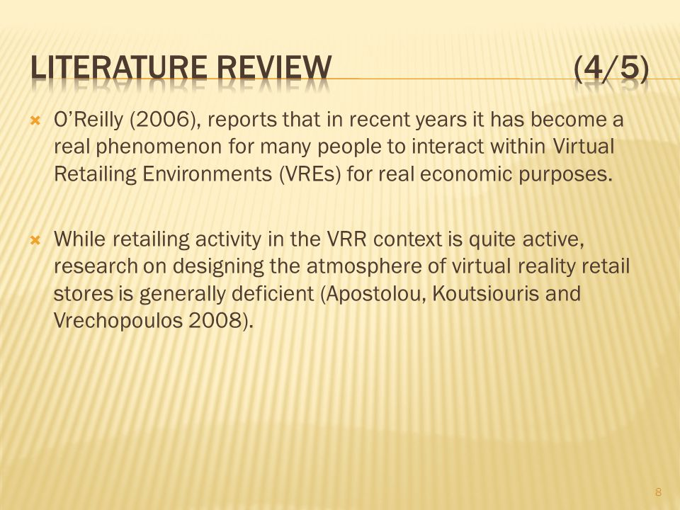 OReilly (2006), reports that in recent years it has become a real phenomenon for many people to interact within Virtual Retailing Environments (VREs)
