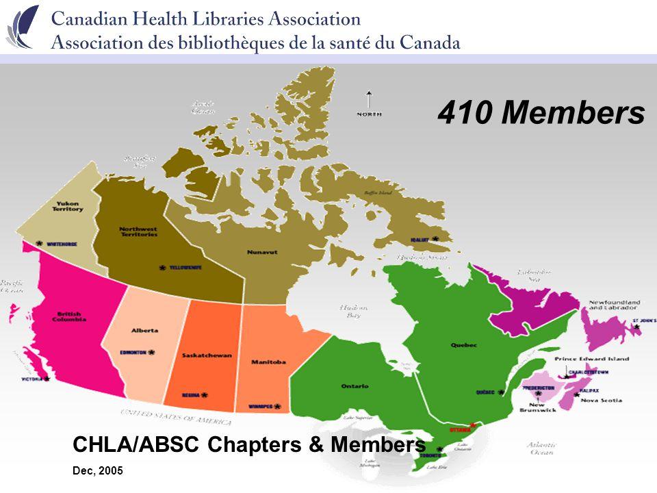 CHLA/ABSC Chapters & Members Dec, 2005 410 Members