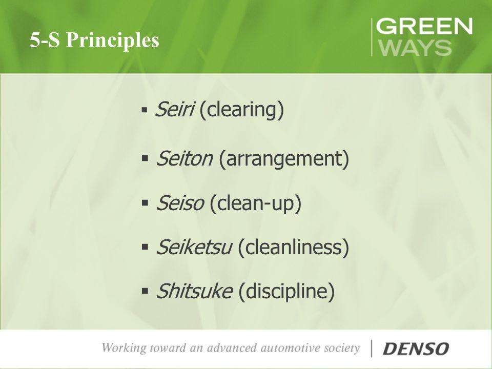 5-S Principles Seiri (clearing) Seiton (arrangement) Seiso (clean-up) Seiketsu (cleanliness) Shitsuke (discipline)