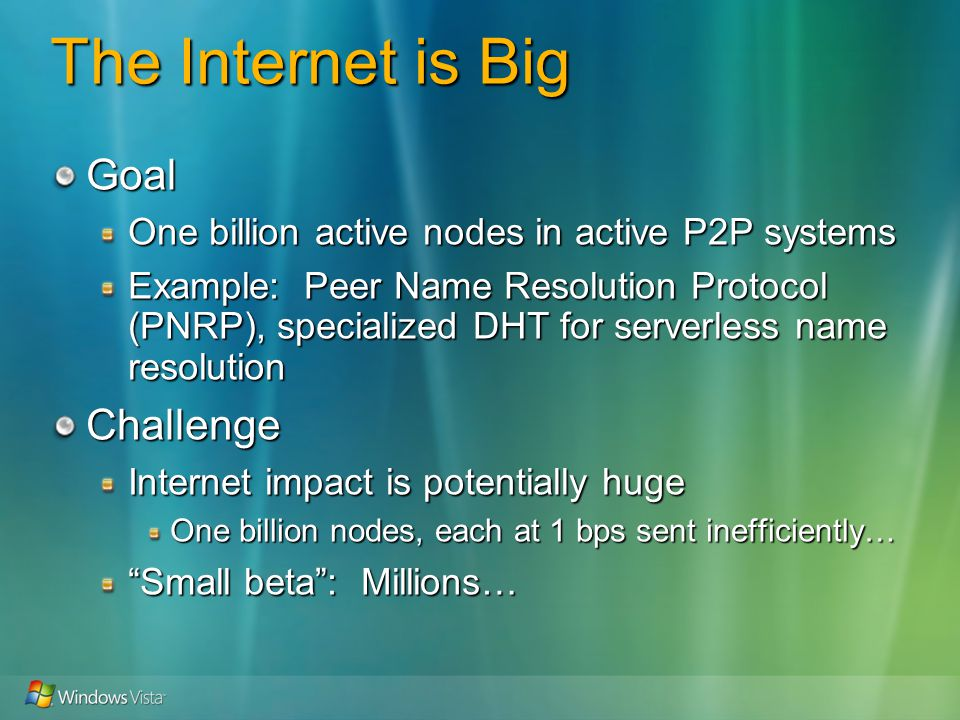 The Internet is Big Goal One billion active nodes in active P2P systems Example: Peer Name Resolution Protocol (PNRP), specialized DHT for serverless name resolution Challenge Internet impact is potentially huge One billion nodes, each at 1 bps sent inefficiently… Small beta: Millions…