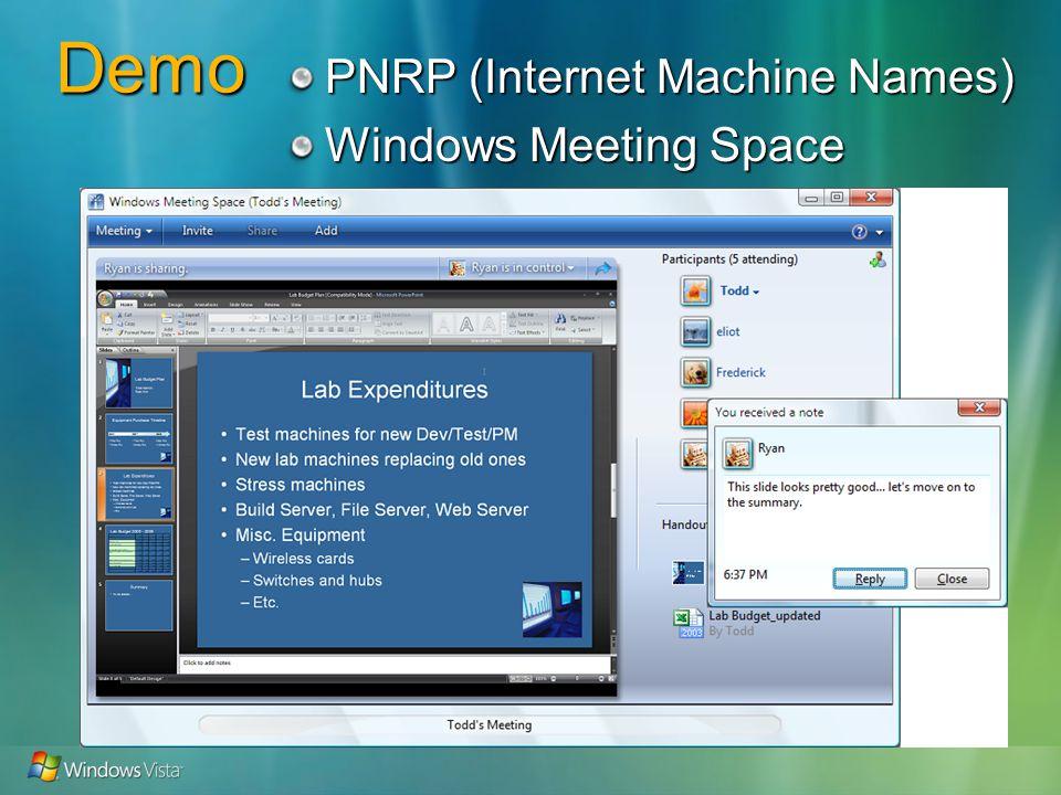 Demo PNRP (Internet Machine Names) Windows Meeting Space