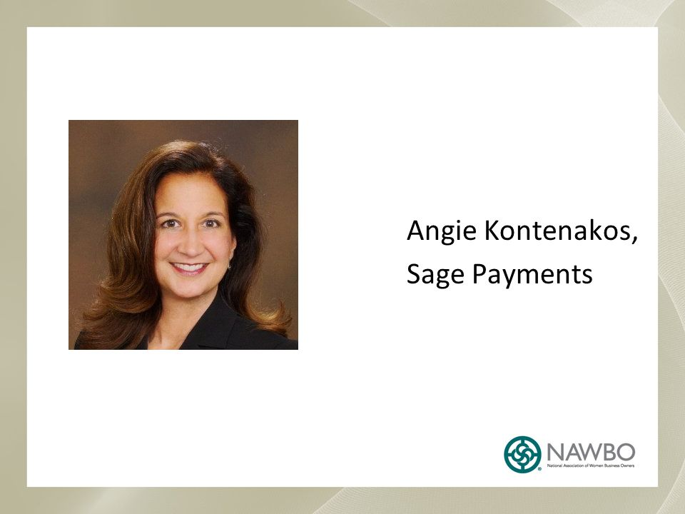 Angie Kontenakos, Sage Payments