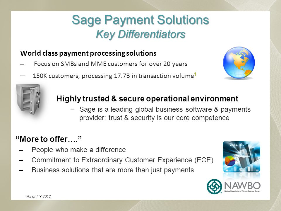 Sage Payment Solutions Key Differentiators World class payment processing solutions Focus on SMBs and MME customers for over 20 years 150K customers, processing 17.7B in transaction volume 1 Highly trusted & secure operational environment –Sage is a leading global business software & payments provider: trust & security is our core competence More to offer….