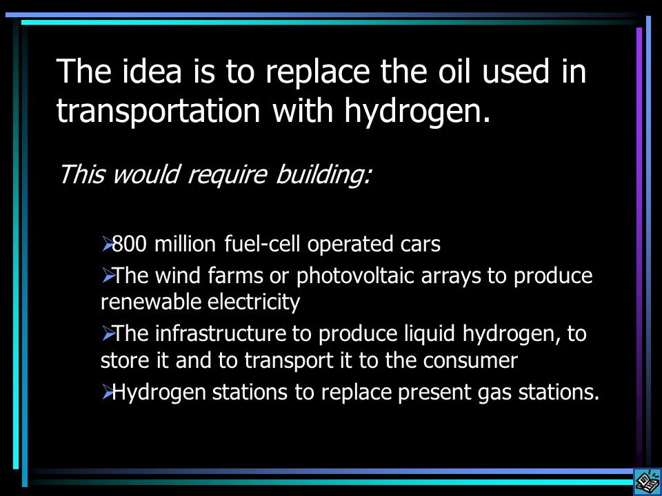 The idea is to replace the oil used in transportation with hydrogen.
