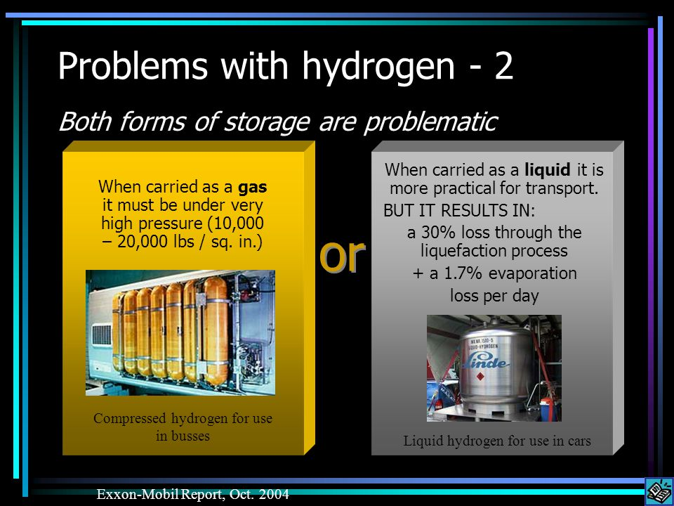 Problems with hydrogen - 2 Both forms of storage are problematic Exxon-Mobil Report, Oct.