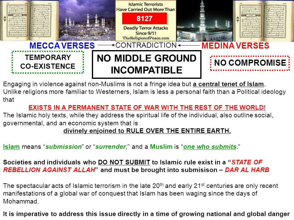 MEDINA VERSESMECCA VERSES NO MIDDLE GROUND INCOMPATIBLE NO COMPROMISE TEMPORARY CO-EXISTENCE CONTRADICTION Engaging in violence against non-Muslims is