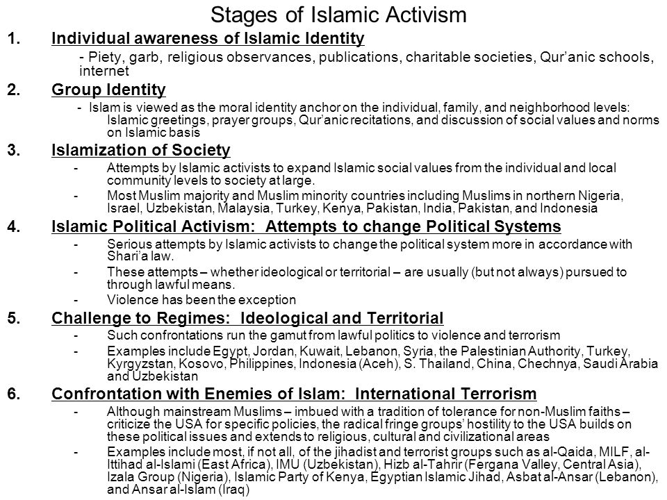 Stages of Islamic Activism 1.Individual awareness of Islamic Identity - Piety, garb, religious observances, publications, charitable societies, Qurani