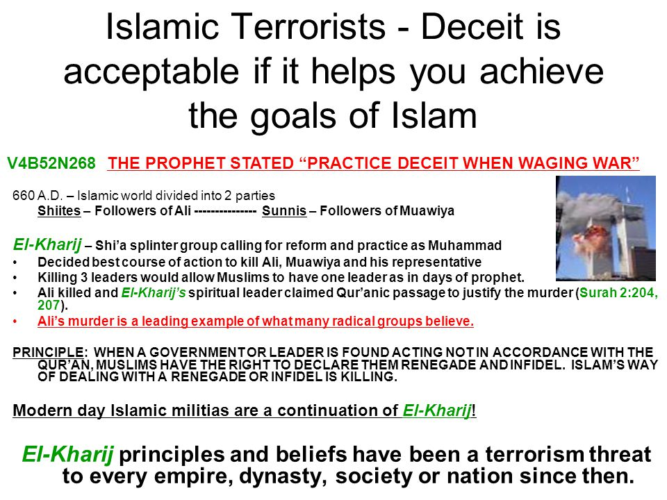 Islamic Terrorists - Deceit is acceptable if it helps you achieve the goals of Islam 660 A.D. – Islamic world divided into 2 parties Shiites – Followe