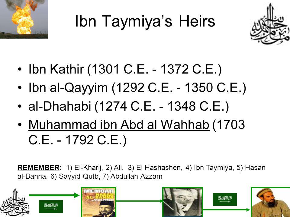 Ibn Taymiyas Heirs Ibn Kathir (1301 C.E. - 1372 C.E.) Ibn al-Qayyim (1292 C.E. - 1350 C.E.) al-Dhahabi (1274 C.E. - 1348 C.E.) Muhammad ibn Abd al Wah