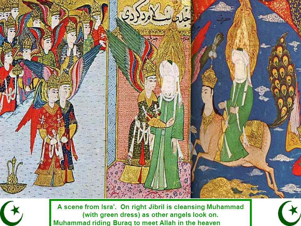A scene from Isra'. On right Jibril is cleansing Muhammad (with green dress) as other angels look on. Muhammad riding Buraq to meet Allah in the heave
