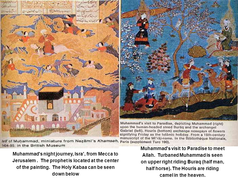 Muhammad's night journey, Isra', from Mecca to Jerusalem. The prophet is located at the center of the painting. The Holy Kabaa can be seen down below