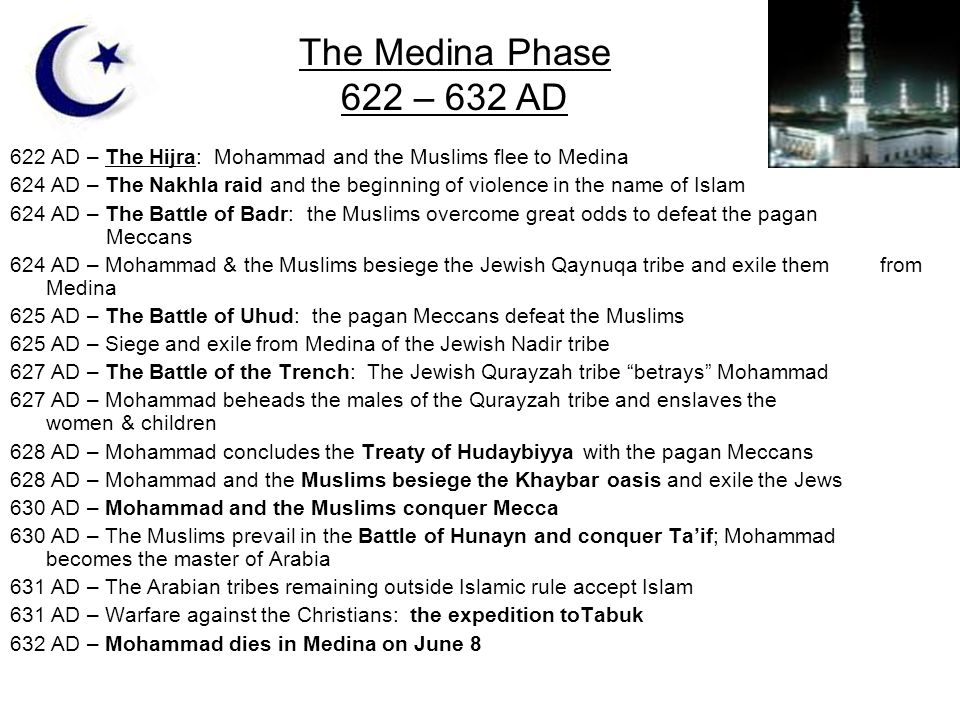 622 AD – The Hijra: Mohammad and the Muslims flee to Medina 624 AD – The Nakhla raid and the beginning of violence in the name of Islam 624 AD – The B