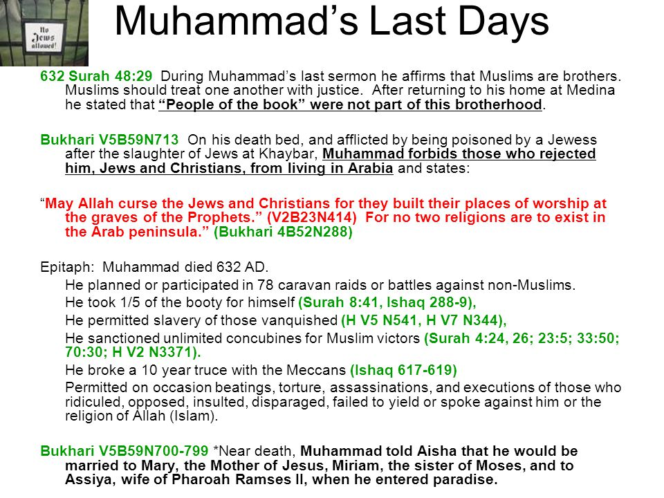 Muhammads Last Days 632 Surah 48:29 During Muhammads last sermon he affirms that Muslims are brothers. Muslims should treat one another with justice.
