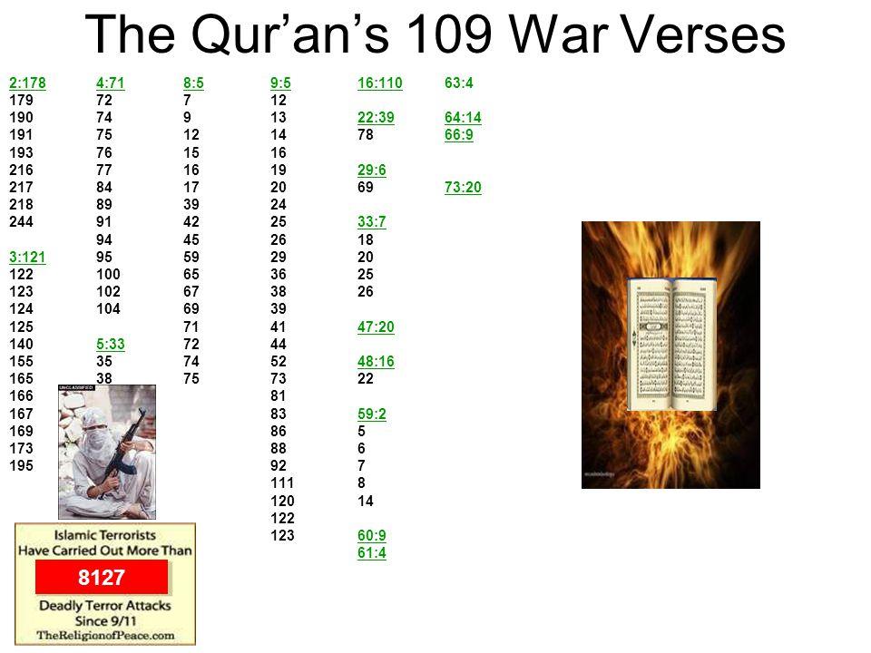 The Qurans 109 War Verses 2:1784:718:59:516:11063:4 17972712 1907491322:3964:14 1917512147866:9 193761516 21677161929:6 2178417206973:20 218893924 244