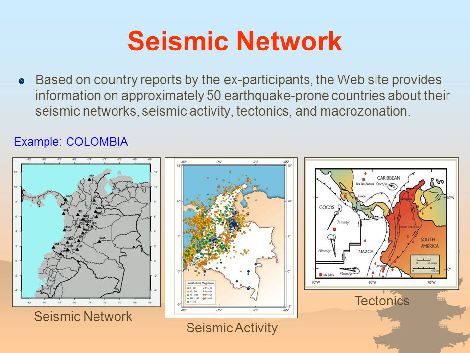 Seismic Network Seismic Activity Tectonics Example: COLOMBIA Based on country reports by the ex-participants, the Web site provides information on app