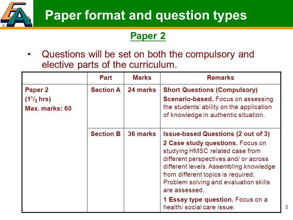 5 Paper 2 Questions will be set on both the compulsory and elective parts of the curriculum.
