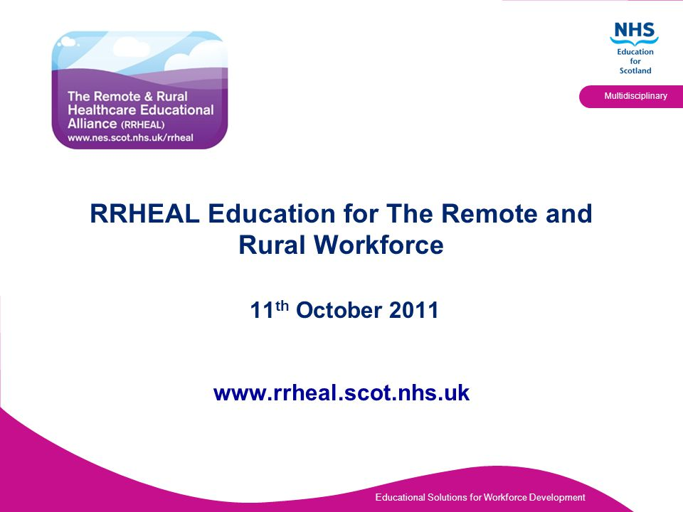 Educational Solutions for Workforce Development Multidisciplinary RRHEAL Education for The Remote and Rural Workforce 11 th October 2011 www.rrheal.sc