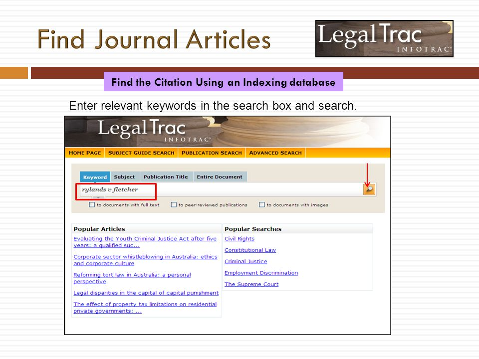 Enter relevant keywords in the search box and search. Find the Citation Using an Indexing database