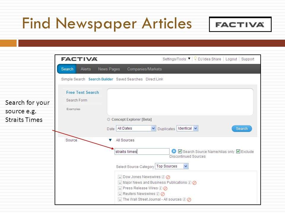 Find Newspaper Articles Search for your source e.g. Straits Times