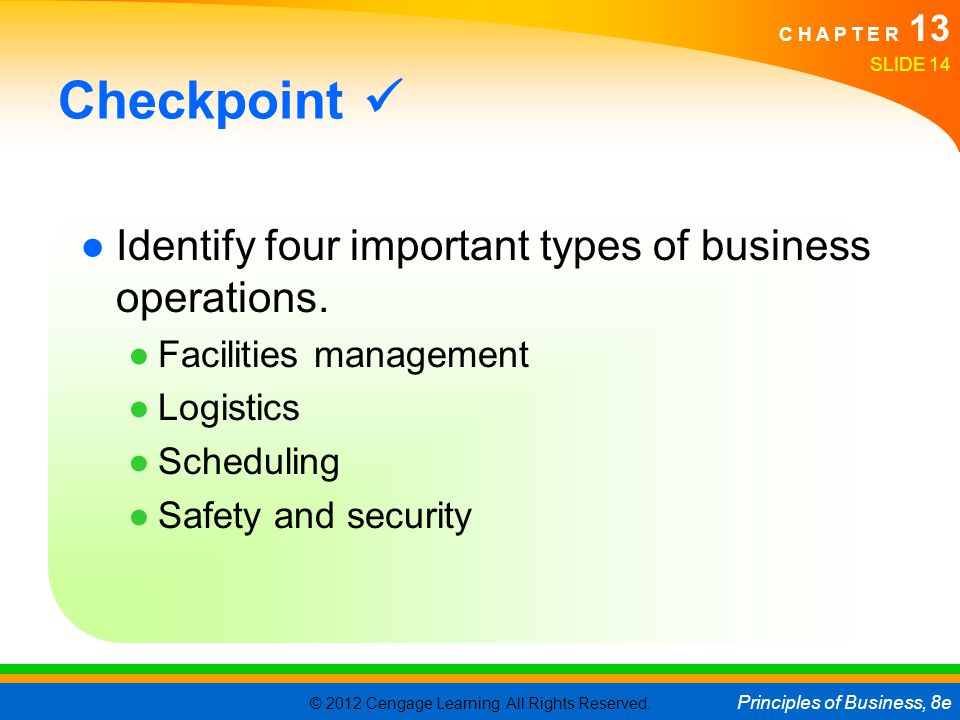 © 2012 Cengage Learning. All Rights Reserved. Principles of Business, 8e C H A P T E R 13 SLIDE 14 Checkpoint Identify four important types of busines