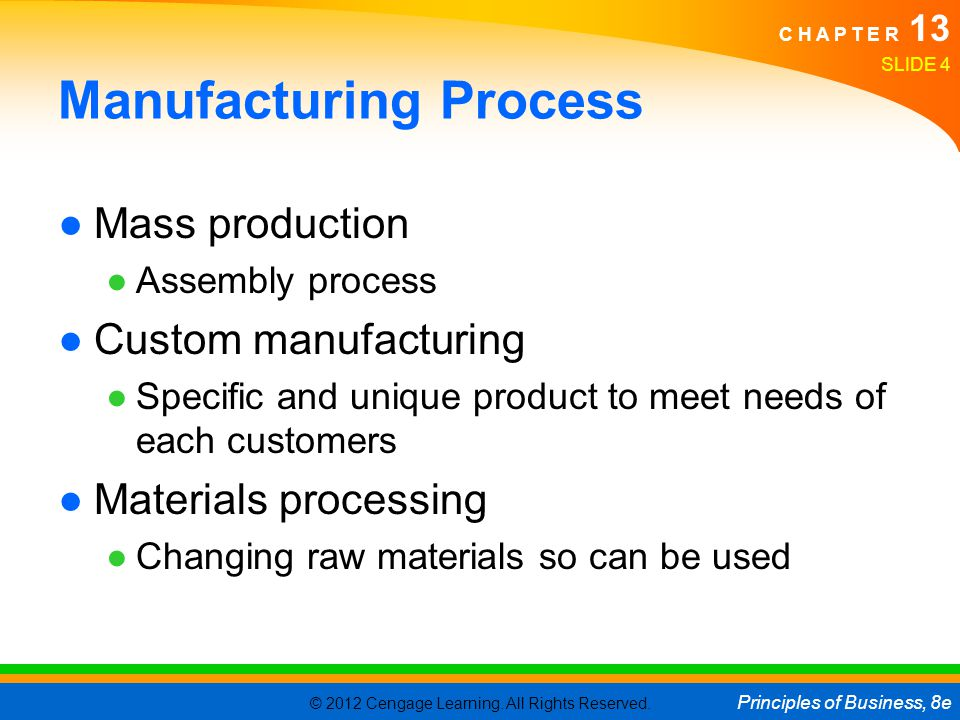 © 2012 Cengage Learning. All Rights Reserved. Principles of Business, 8e C H A P T E R 13 Manufacturing Process Mass production Assembly process Custo
