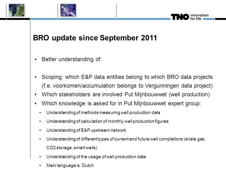 BRO update since September 2011 Better understanding of: Scoping: which E&P data entities belong to which BRO data projects (f.e.
