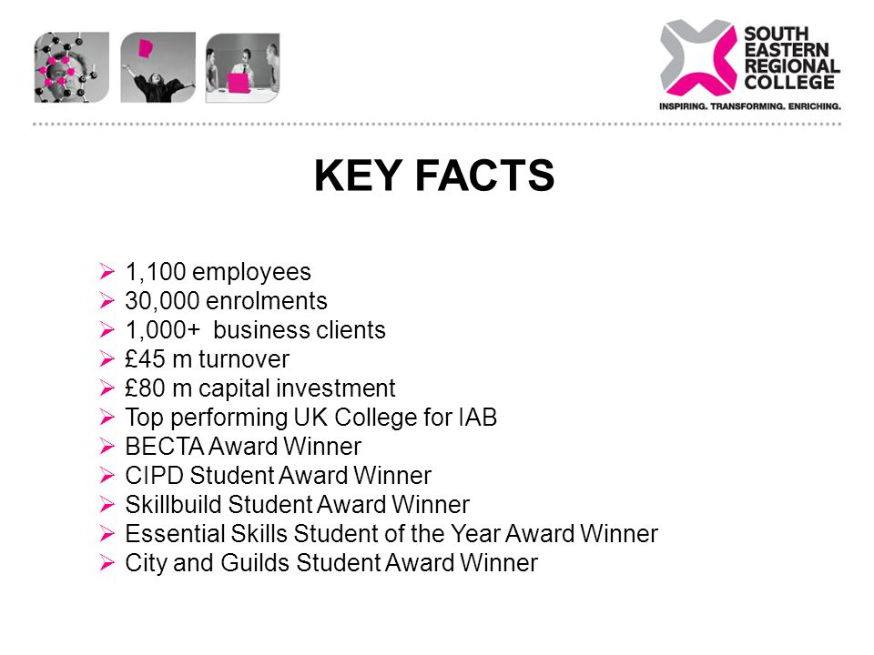 KEY FACTS 1,100 employees 30,000 enrolments 1,000+ business clients £45 m turnover £80 m capital investment Top performing UK College for IAB BECTA Award Winner CIPD Student Award Winner Skillbuild Student Award Winner Essential Skills Student of the Year Award Winner City and Guilds Student Award Winner