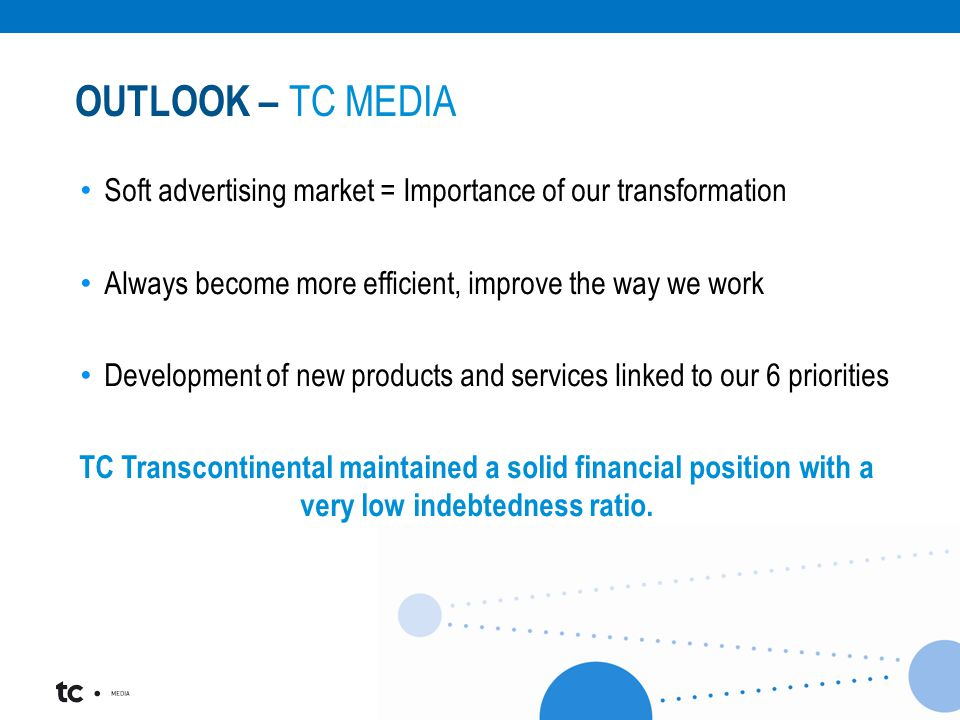 Soft advertising market = Importance of our transformation Always become more efficient, improve the way we work Development of new products and services linked to our 6 priorities TC Transcontinental maintained a solid financial position with a very low indebtedness ratio.