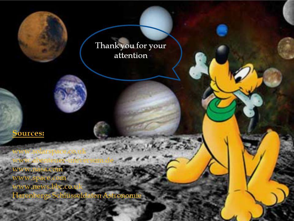 Thank you for your attention Sources: www.solarspace.co.uk www.abenteuer-universum.de www.nasa.com www.space.com www.news.bbc.co.uk Harenbergs Schlüsseldaten Astronomie