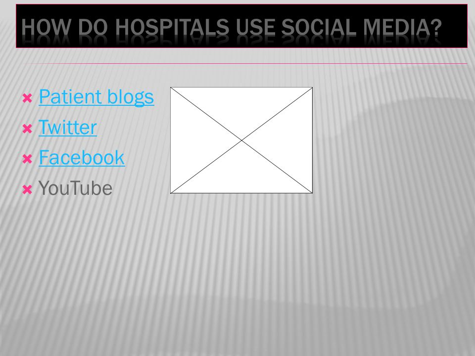 Patient blogs Twitter Facebook YouTube