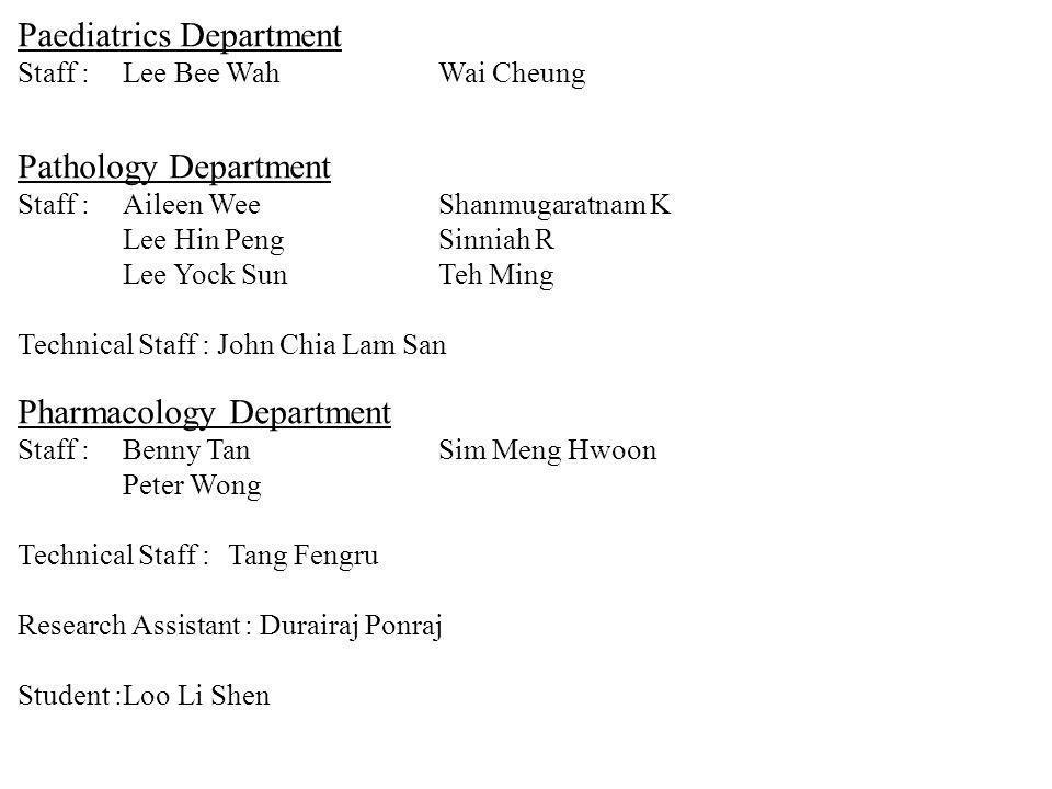 Paediatrics Department Staff :Lee Bee Wah Wai Cheung Pathology Department Staff :Aileen WeeShanmugaratnam K Lee Hin PengSinniah R Lee Yock SunTeh Ming