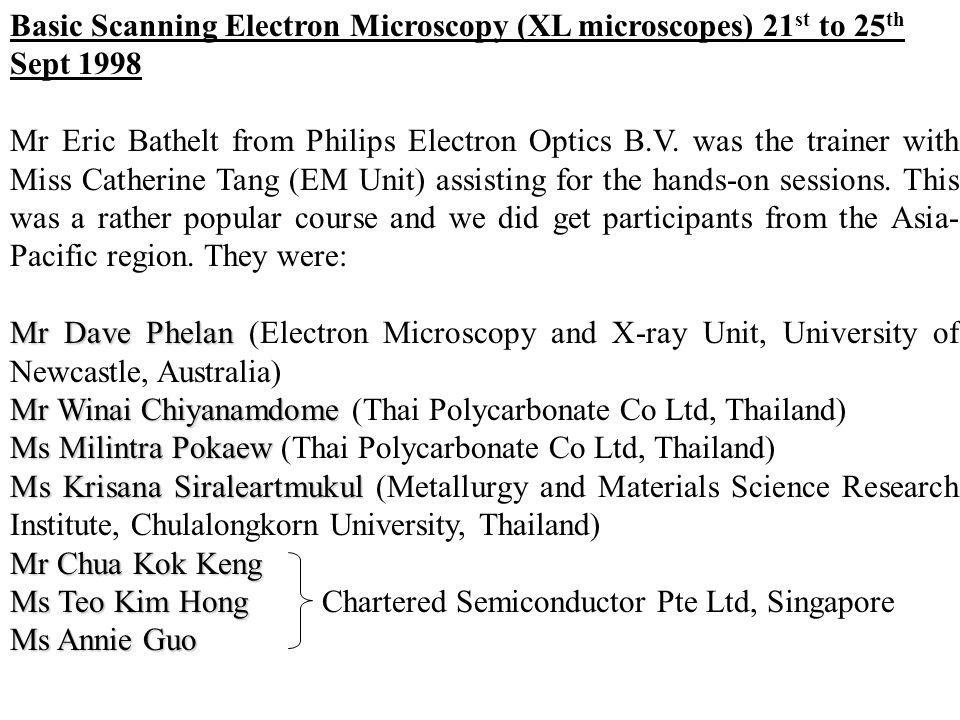 Basic Scanning Electron Microscopy (XL microscopes) 21 st to 25 th Sept 1998 Mr Eric Bathelt from Philips Electron Optics B.V. was the trainer with Mi