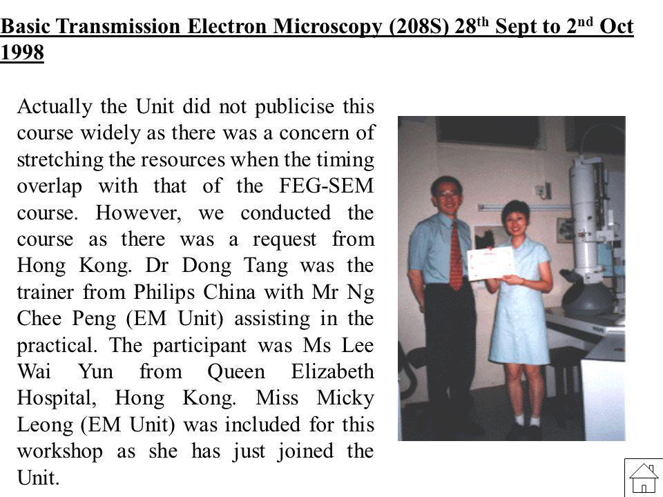 Basic Transmission Electron Microscopy (208S) 28 th Sept to 2 nd Oct 1998 Actually the Unit did not publicise this course widely as there was a concer