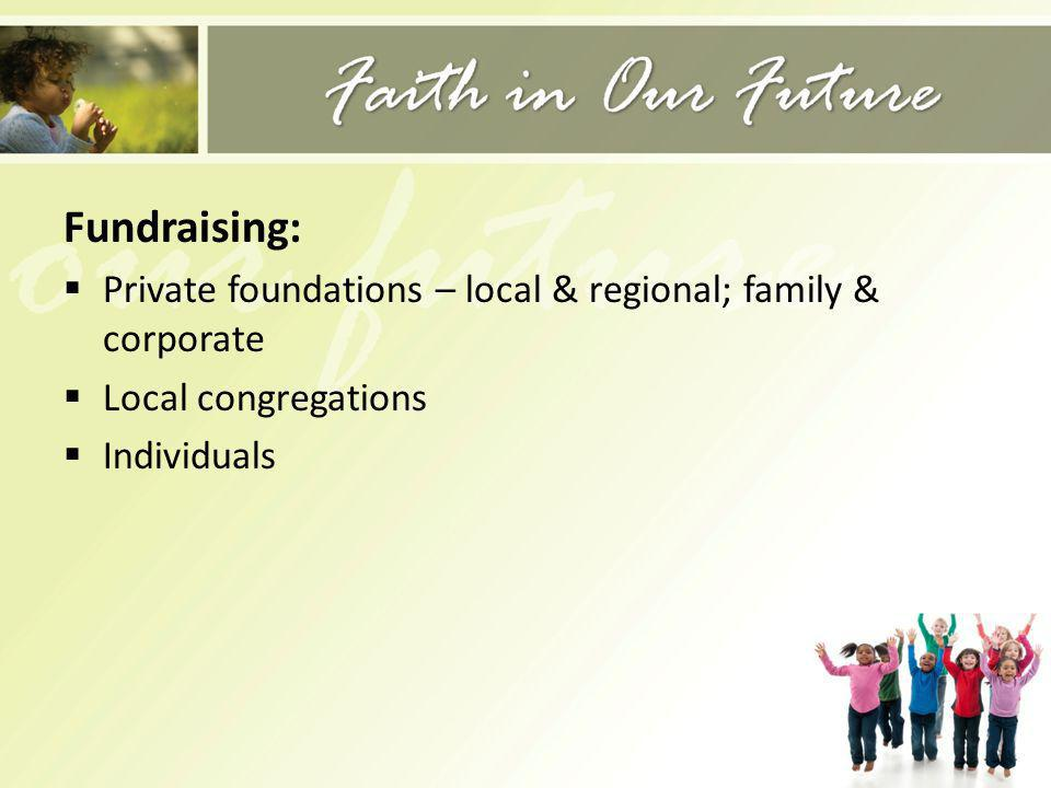 Fundraising: Private foundations – local & regional; family & corporate Local congregations Individuals