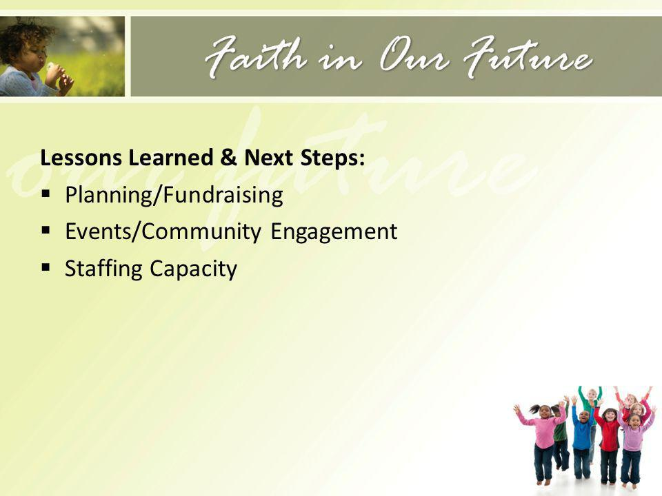 Lessons Learned & Next Steps: Planning/Fundraising Events/Community Engagement Staffing Capacity