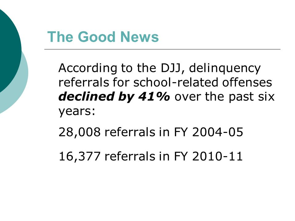 The Bad News During FY 2004-05, 63% of school- related referrals were for misdemeanors During FY 2010-11: 67% of school- related referrals were for misdemeanors
