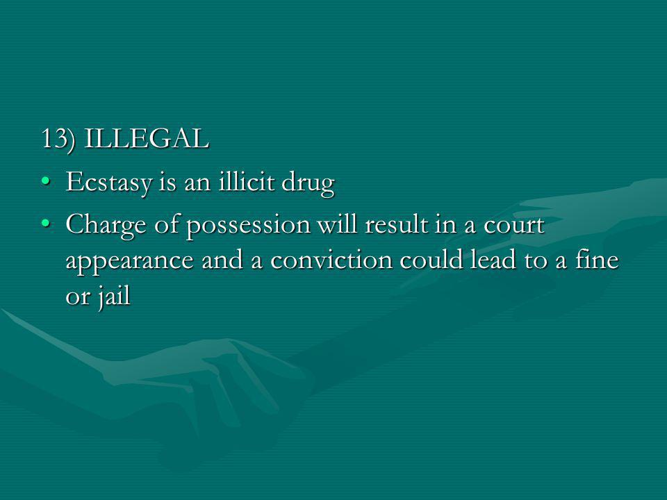 13) ILLEGAL Ecstasy is an illicit drugEcstasy is an illicit drug Charge of possession will result in a court appearance and a conviction could lead to a fine or jailCharge of possession will result in a court appearance and a conviction could lead to a fine or jail