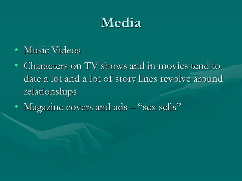 Media Music VideosMusic Videos Characters on TV shows and in movies tend to date a lot and a lot of story lines revolve around relationshipsCharacters on TV shows and in movies tend to date a lot and a lot of story lines revolve around relationships Magazine covers and ads – sex sellsMagazine covers and ads – sex sells