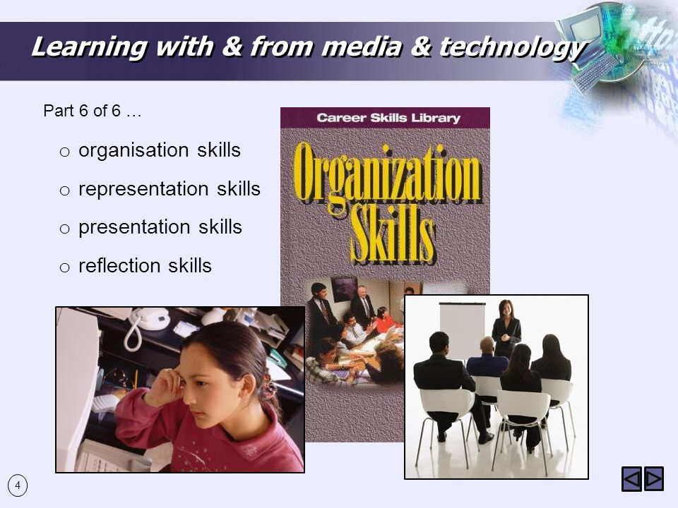 4 Learning with & from media & technology o organisation skills o representation skills o presentation skills o reflection skills Part 6 of 6 …