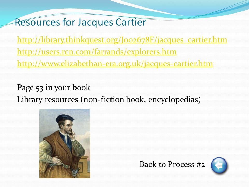 Resources for Jacques Cartier http://library.thinkquest.org/J002678F/jacques_cartier.htm http://users.rcn.com/farrands/explorers.htm http://www.elizabethan-era.org.uk/jacques-cartier.htm Page 53 in your book Library resources (non-fiction book, encyclopedias) Back to Process #2