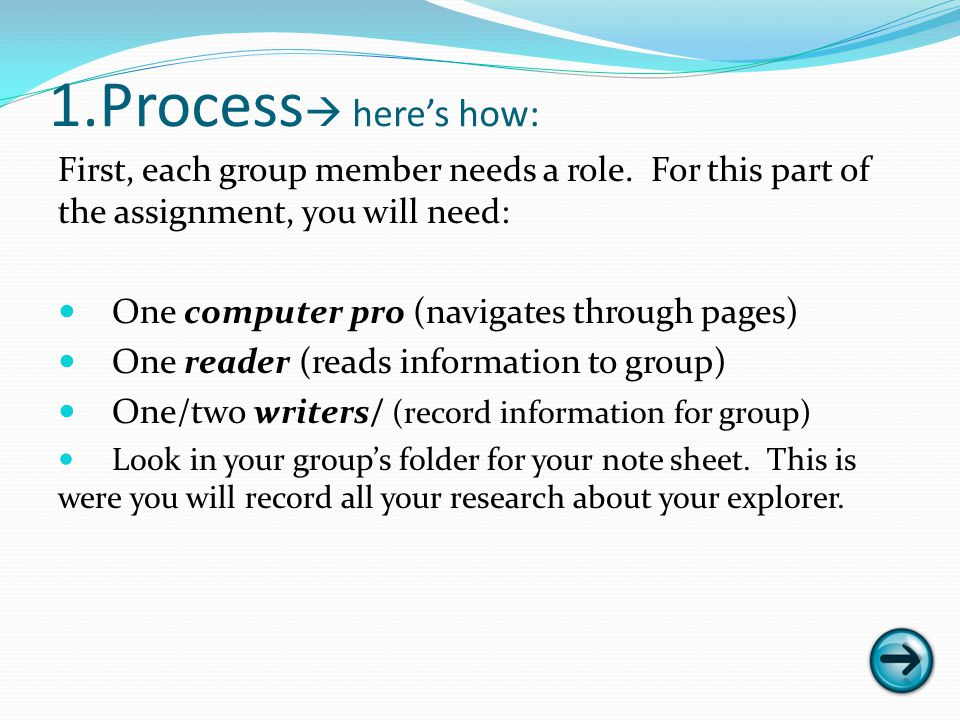 1.Process heres how: First, each group member needs a role.