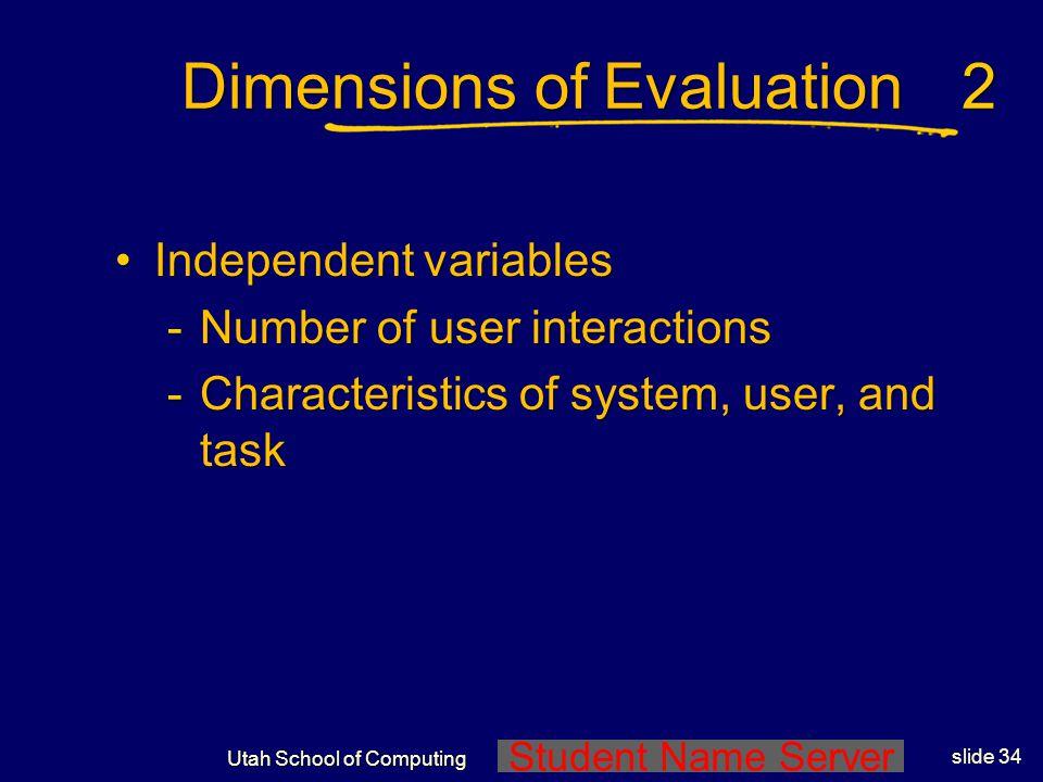 Student Name Server Utah School of Computing slide 33 Dimensions of Evaluation Dependent measuresDependent measures -Solution speed -Solution quality -Amount of effort reduced -User satisfaction -Predictive accuracy